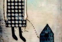 SCHILDERKUNST - COLLAGE - MIXED MEDIA / geniet van dit bord