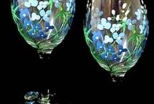 Sticla, pahare- pictate,decorate
