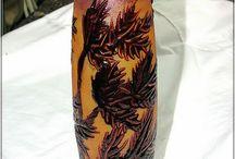 CRISTAL-PLATOS- COPAS..... / Trabajos con decoupage y pinturas en cristal platos, botellas, vasos, copas.. www.manualidadespinacam.com