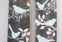 charcoal birdy wall art
