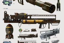 Future Weaponry / Concept art of science fiction weapons and gear: plasma rifles, rail guns, laser blasters, missile launchers, nano blades etc.