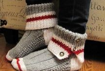 Knitted slippers, socks, boot toppers, leg warmers