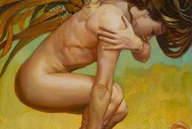 Painter: Julie Bell / Julie Bell (born October 21, 1958) is an American painter. A fantasy artist and wildlife artist, she is a former bodybuilder and fantasy model for her second husband, painter Boris Vallejo.