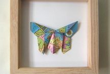Origami Me - Origami Pictures and Home Decor / A selection of origami pieces shaped from vintage maps/illustrations to vintage lace origami butterflies. origami dogs, origami art, origami stars, wall art, wall pictures, origami butterflies, origami rabbits, origami cushions, origami butterfly cushion, origami pillows, vintage maps, vintage roads,