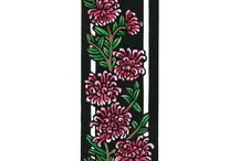 Deco Wildflowers / Art Deco inspired Limited Edition Handpainted Linocuts by Lynette Weir