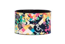 Bracelet 4 cm - The Flower Power / Women Leather Bracelet, Limited Edition Designer Leather Bracelet COLOURS OF MY LIFE - Limited Edition wearable art signed by Anca Stefanescu.