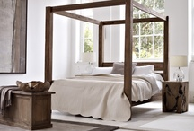 Bedroom / - Wide Ventilation  - Cream White Wall  - Canopy Bed  - Chandelier  - Wood furniture