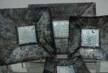 Fused Glass Art Dish,Silver / Handmade Glass Object