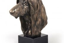 Afghan Hound ARTDOG / collection, statues, jewelry, silver and gold keyring, silver and gold necklase, statue on marblebase and woodenbase, statue on the wall, welcome