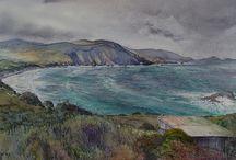 Tasmanian landscape watercolour paintings / Watercolour landscapes of our enchanting country. Visit www.melhillswildart.com.au for more.