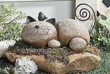 Cats stones garden