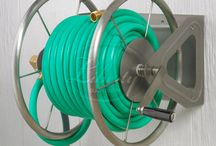 Industrial Hose Reels: The Model 703 and 703-S2 / The Model 703 and 703-S2 Wall Mounted Hose Reels can be anchored into lawn or turf, mounted onto the wall, or set onto almost any surface using the non-skid rubber boots. #industrial #steel #hosereel