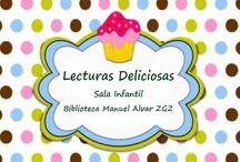 + Cuentos: Lecturas deliciosas / Animación a la lectura para niños y niñas de 5 a 8 años . Elige un pastel y descubre qué lectura deliciosa te llevarás a casa para leer. Las mejores historias no empachan, alimentan. ¡Pruébalas todas! Cada mes en la sala infantil de la Biblioteca Manuel Alvar.