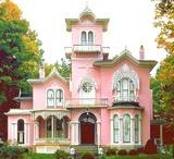 Victorian / I live in a 1905 late Victorian house.  It's the pink one pictured below-- the picture with the awnings is our house when it was built, and beneath it are my husband and son 106 years later...
