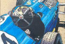 BLUE CAR / VOITURE/Talbot Lago/ course/PEINTURE  Acrylique /encre de Chine sur toile  30x30