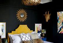 black yellow gold bedroom