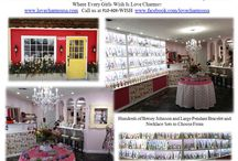 Love Charms USA Location Pictures / Love Charms USA in Fayetteville, NC 910-808-WISH  Come and visit the charming store with the red wall and yellow door. Pandora Compatible European Charm Bracelets, Betsey Johnson Pendants, Murano Glass Beads, Fine and Fashion Jewelry and Locket Parties. Origami style lockets and charms. Children's sets and more!! Custom order baby shower, bridal and other special occasion sets created right here in our store.