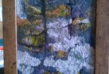 Fiona's Ffabstracts Embroidery / Slow stitching Mixed-media Textile art Mosses Lichens Rocks Textures