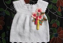 crochet baby frock with floers