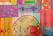 Year 9 Decorative Metal Work Designs / Designs based on Decorative French- Style Metal Work. Mixed media - Fabric dyes, aquarells and metallic thread.