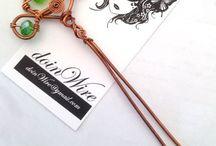 doinWire-Hair-Forks, Hair-Pins, Hair-Slides / doinWire handcrafted wire hair accessories. Hair-slide, Hair-comb, Hair-fork, Hair-pin.