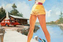 Gil Elvgren pin-up girls / Gil Elvgren famous pin-up girls illustrations.