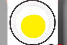 The Circular Calendar 2016 - The PDF Edition /  sunlight – 50° / 40° / 30° north of the equator  The yellow form shows the daily sun hours on latitude 50° north of the equator during 365 days. Additional rings mark the daily sun hours  on latitudes 40° and 30° north of the equator.