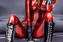 latex, rubber, leather