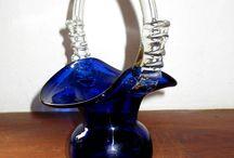Vintage Art glass cobalt basket