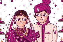 Gujarati Wedding Invitation Card / Gujarati Wedding Invitation and Envelope Cover Illustrated and Designed by SCD Balaji, Indian Illustrator, Coimbatore. For pricing and specifications of the Invite please visit www.scdbalaji.com