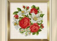 cross stitch lilies