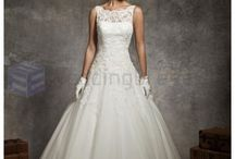 Ball Gown Wedding Dresses / Net Strapless Sweep Train Ball Gown Embroidered Wedding Dress / by eweddingdress