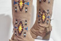 Native footwear / Native beaded & painted she's & boots