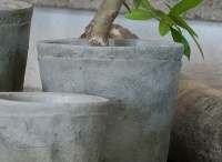 cement, clay pots