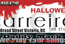 October 31st Carreiros Hair Studio / DJ Daddy Mack Sound & Design has the Honor of helping Carriro's Hair studio October 31, to put all it's clientele in the mood for Halloween. So if you want a Hair Doo that fits your  evening event. Come on down to Carrrio's on 1215 Broad St, Victoria, BC and get in the mood for any event you are going too. CLICK THIS 2015 Halloween Party Mix : http://tinyurl.com/pgwxj3a