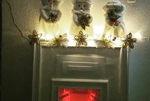 chimenea y muñecos navideños hechos en casa
