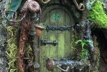 Fairy Doors / I love fairy doors and fairy gardens that center around a real tree with a door on it.