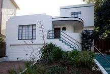 Streamline Moderne (1930-1940) / Art Moderne showed a restraint following the lavish ornamentation of Art Deco. Art Moderne - or Streamline Moderne - took its inspiration from the growth of speed, travel and technology. Th is is refl ected in geometric forms, horizontal lines, chevrons, and zigzags evocative of the era's technological advances. Wall surfaces were typically light and trimmed with bright or darker colors and the mosaics echoed these color tones.