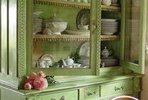 armário antigo arca tom de verde lindooo