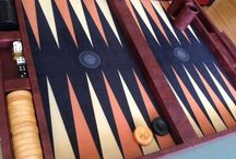 Customer Backgammon Boards with an added logo. / A gallery of Erhan's boards showing the multitude of options available.  Let your imagination soar and create the backgammon board of your dreams.  We don't believe you will find a better leather backgammon board anywhere in the world for less than double the price.