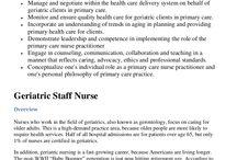 On the Job... / Geriatric nursing. / by Mrs. Combs