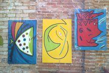 """Pinturas / """"Os meninos"""" Eu posso me expressar, óleo sobre tela."""