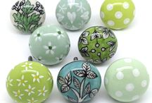 Navy and Green Cupboard doorknobs / Mixed group of navy and green designs and hundreds more original kitchen and cupboard door knob designs at www.theseplease.co.uk