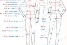sizes, measurements & patterns