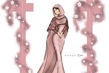 sketsa muslimah