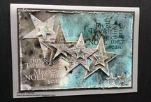 Stars / Artwork made with the Art Journey rubberstamp sheet Christmas Stars
