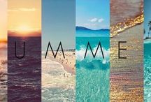 Summer / The season of blue skies, green trees, golden sands, white sunshine, rainbow flowers and brown tanned bodies.