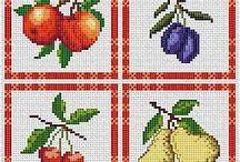 вышивка - фрукты, ягоды, овощи