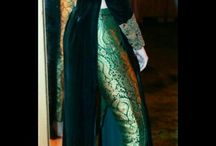 green pencil pant with velvet gown top