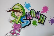 Graffiti Girl / I was invited to paint and create this Graffiti Girl for a six year old girl on her bedroom wall. Her name was included into the mural which sits above the headboard of her bed.